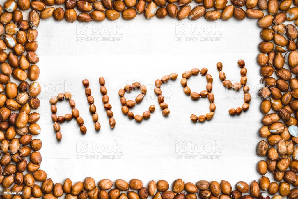 Allergy Written With Peanuts And Surrounded With Nut Frame Word And ...