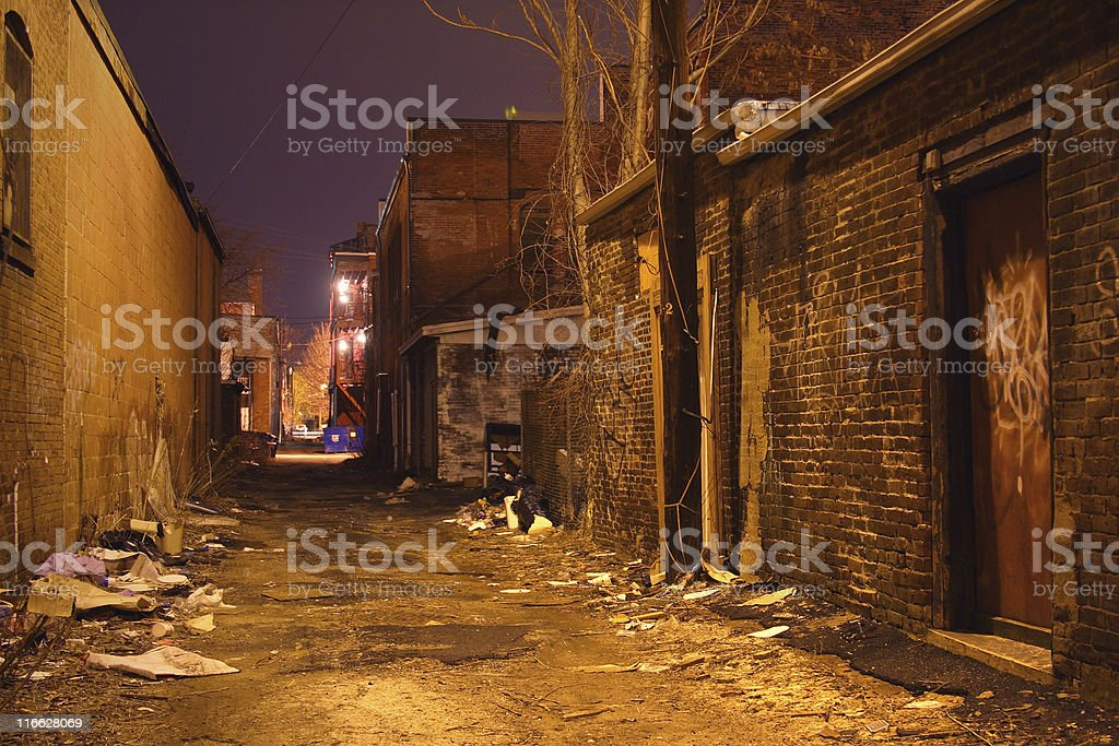 Alley at night royalty-free stock photo