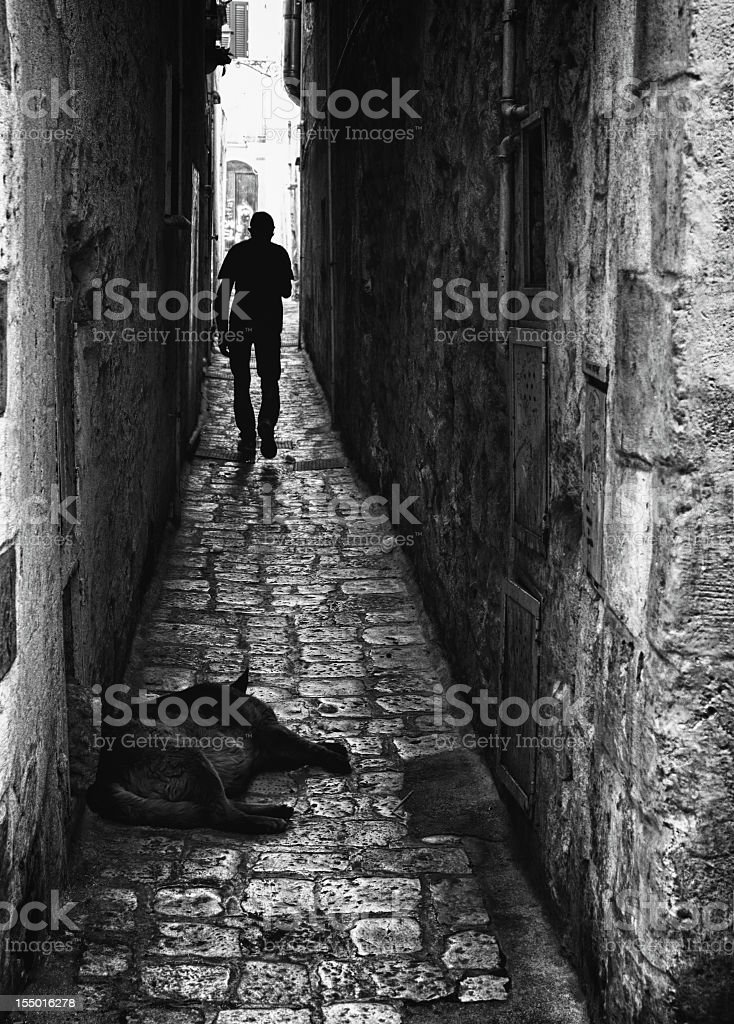 Alley. Black and White stock photo