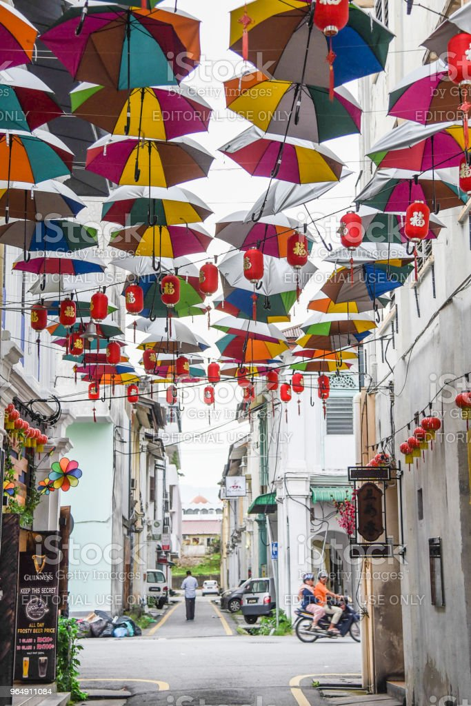 Alley covered with Umbrellas in Ipoh, Malaysia stock photo