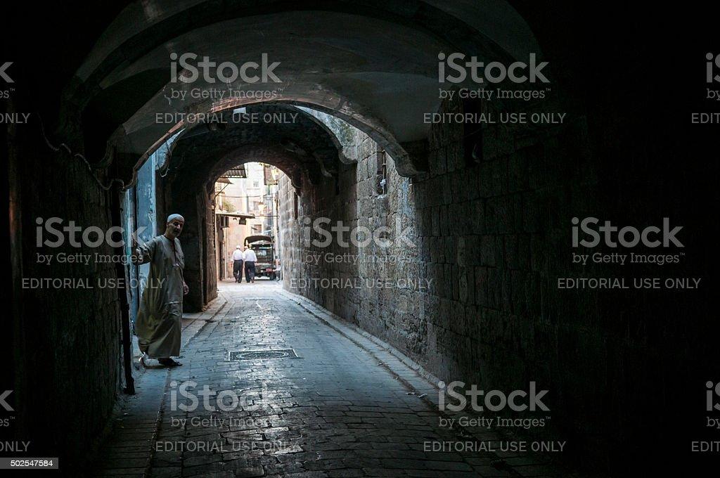 Alley in Aleppo, Syria stock photo