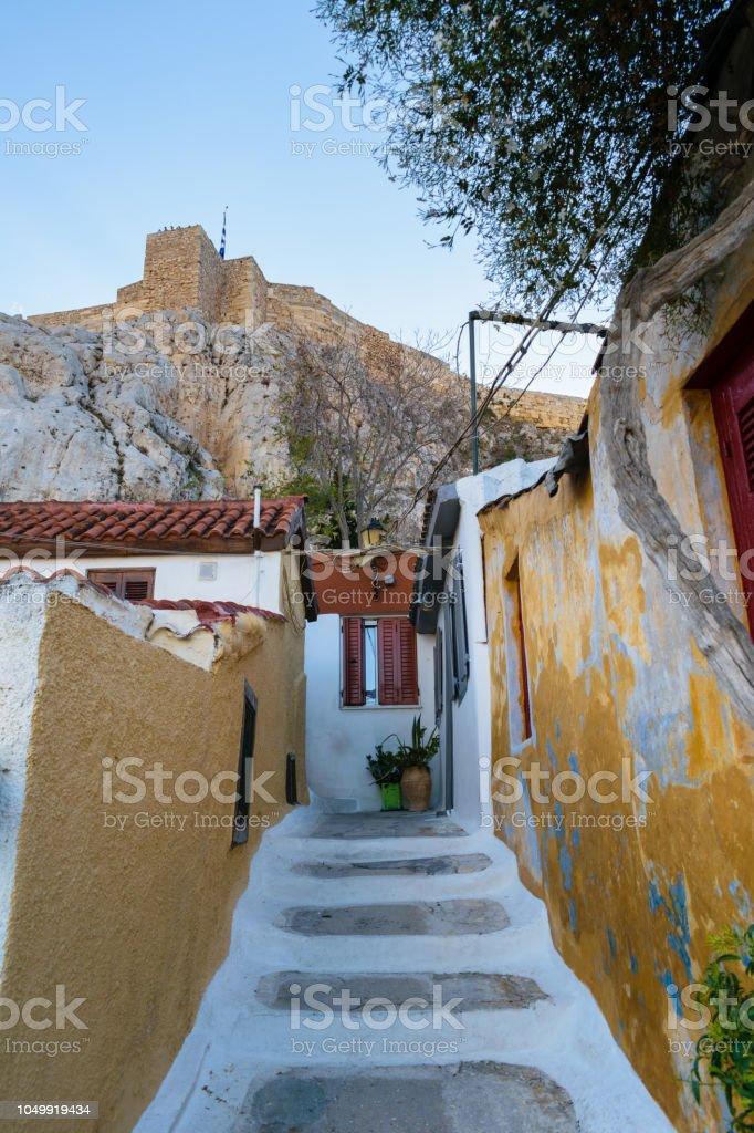 Alley in Anafiotika under Acropolis, Athens, Greece stock photo