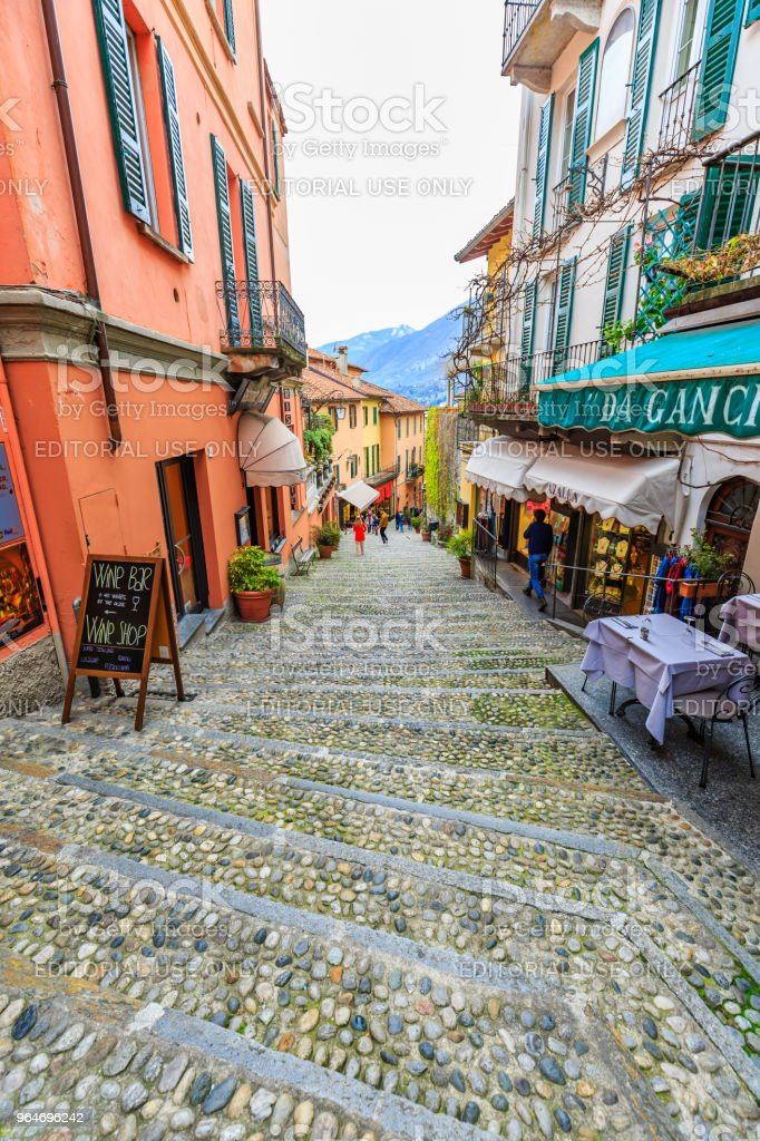Alley in Bellagio town royalty-free stock photo