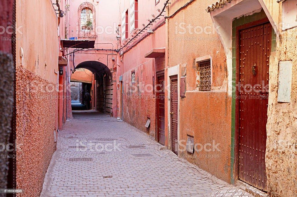 Alley in Marrakech Medina. Morocco. stock photo