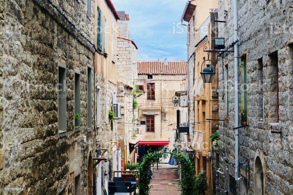 Alley in Porto-Vecchio stock photo