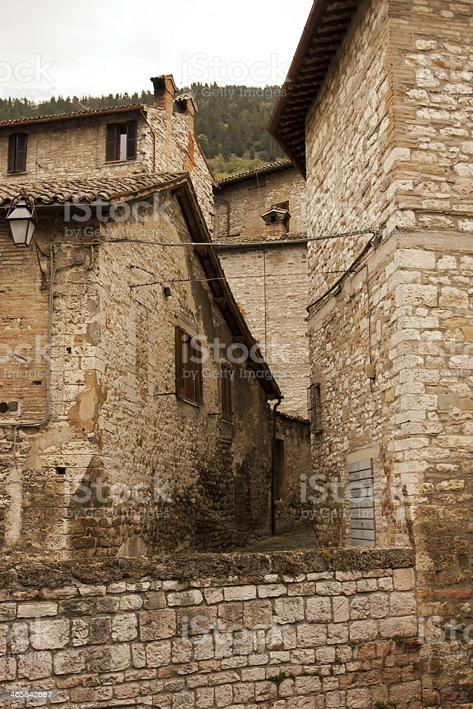 Alley in the historic center of Gubbio, Umbria - Italy royalty-free stock photo