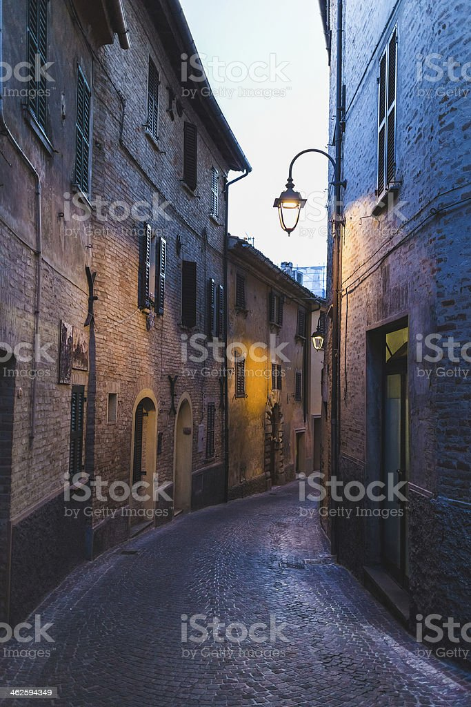Alley in the Marche region, Italy stock photo