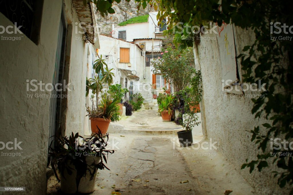 Alley Of Anafiotika In Athens stock photo