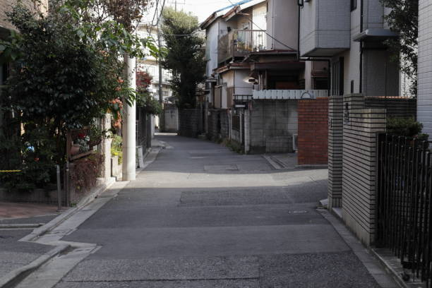 Alley of residential area Scenery of residential area in Japan narrow stock pictures, royalty-free photos & images