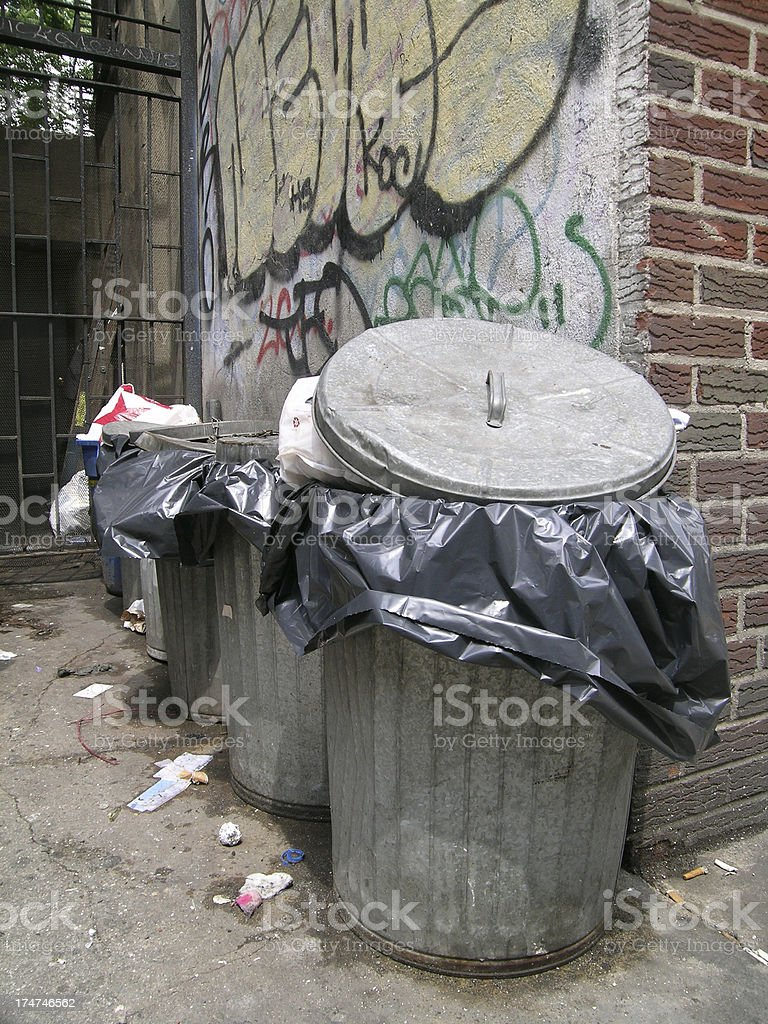 Alley of trash cans royalty-free stock photo