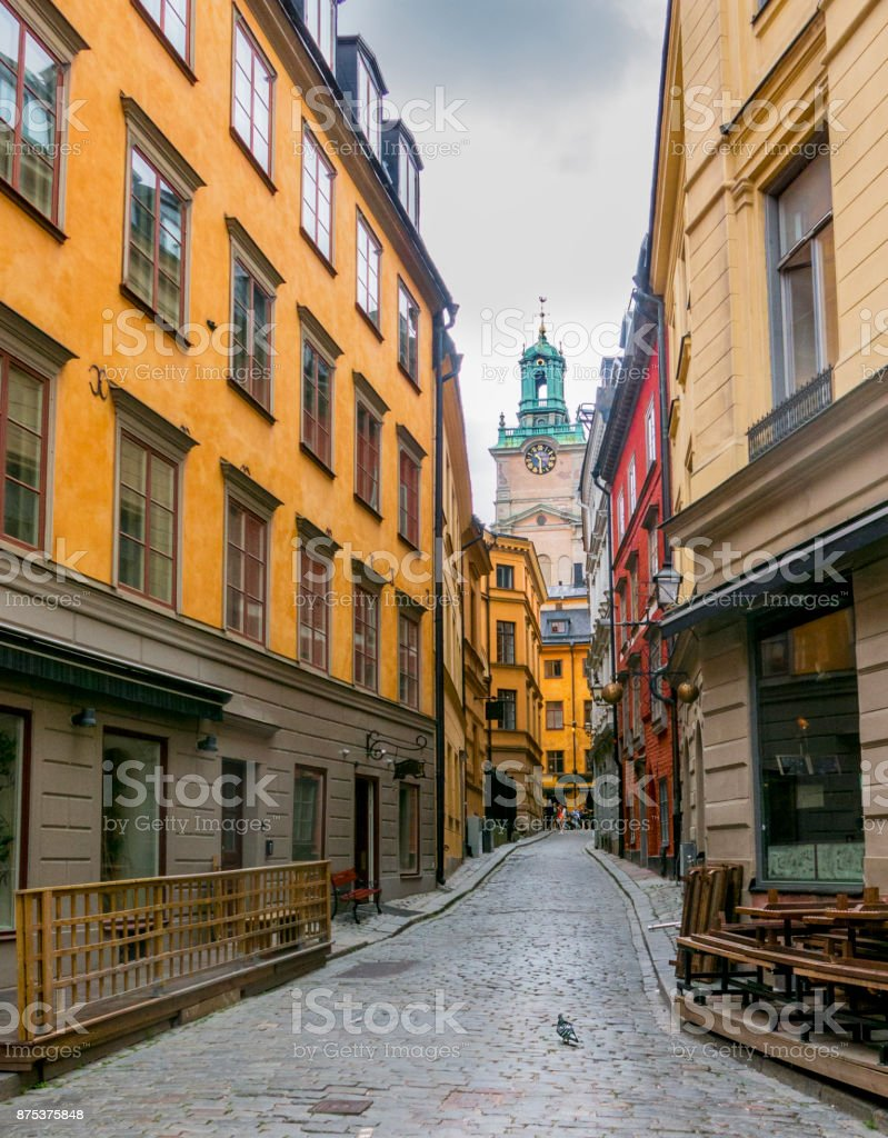 Alley Old Town in Stockholm stock photo