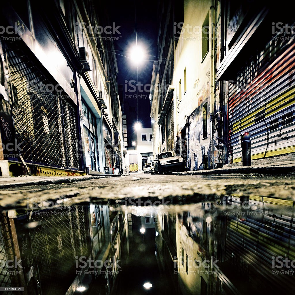 Alley reflections. royalty-free stock photo