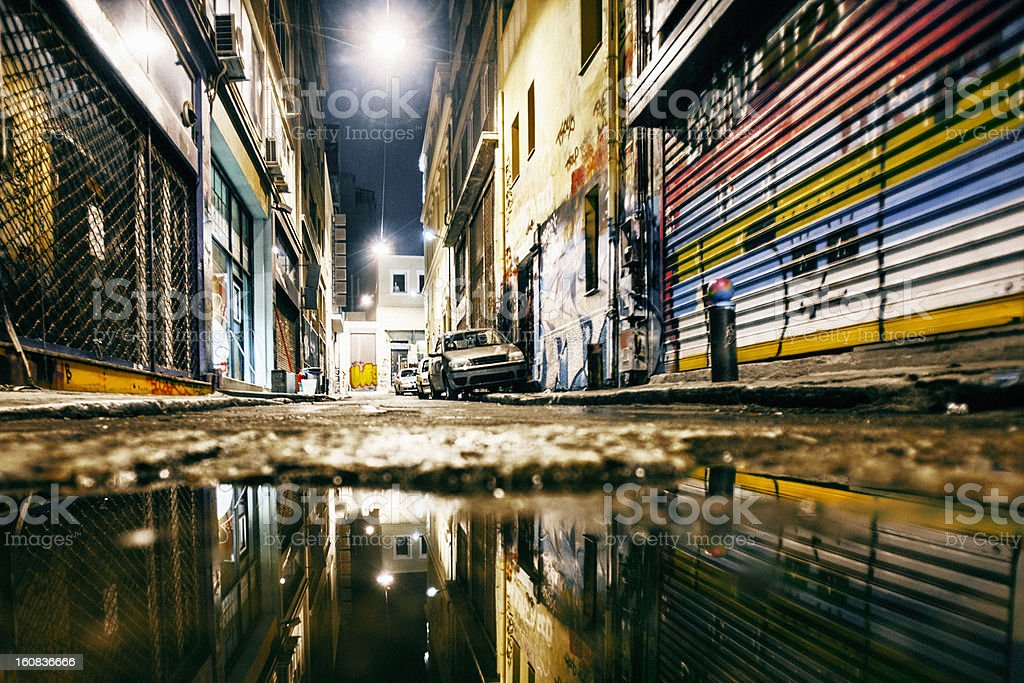 Alley reflections. stock photo