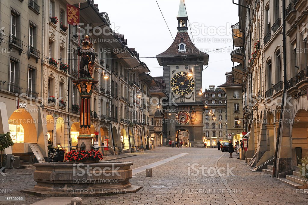 Alley to the clock tower at Bern stock photo