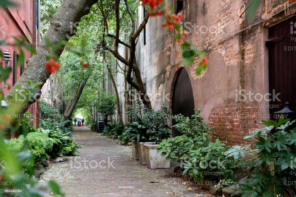 Alley way in Charleston, South Carolina stock photo