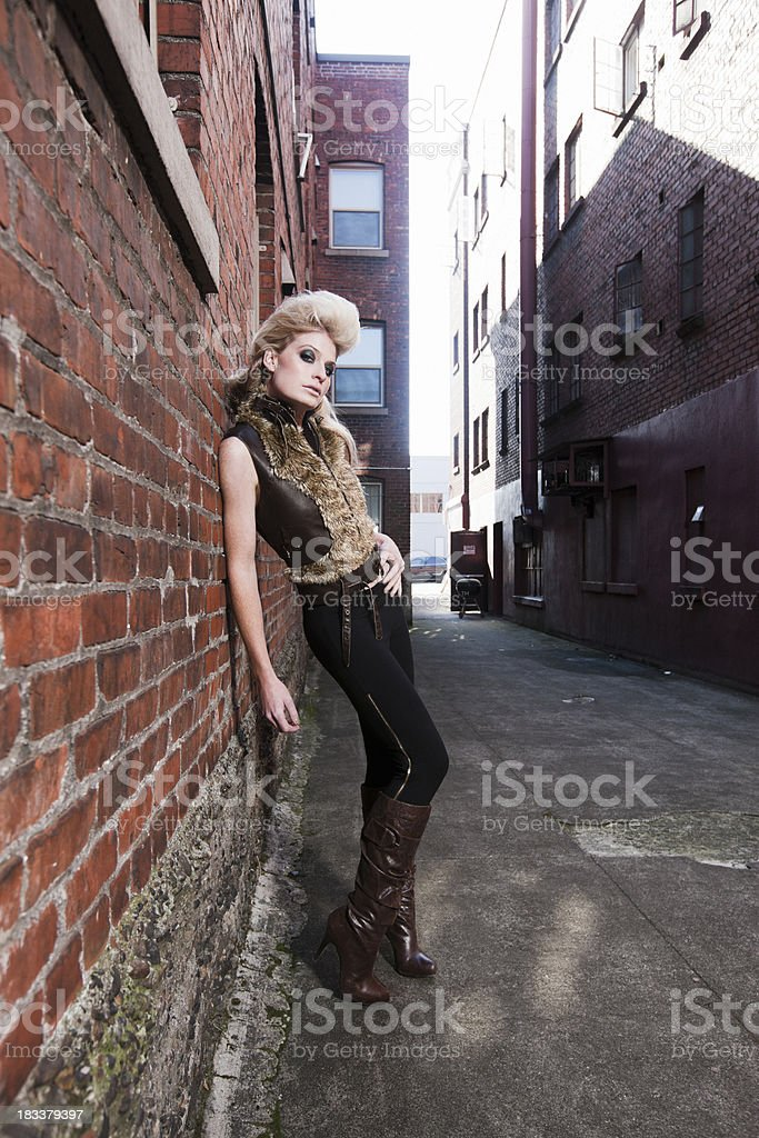 Alley Way with Beautiful Blond Fashion Model, Copy Space royalty-free stock photo