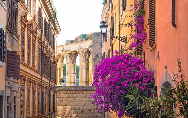 Gasse mit Das Bougainvillea und römischen Säulen, Rom, Italien – Foto