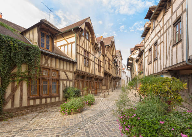 Alley with medieval houses at the old town of Troyes, Fracne stock photo