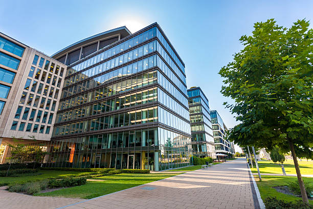 Alley with modern office buildings stock photo