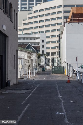Alley with numerous layers of public buildings, office, commercial, industrial, vertical aspect