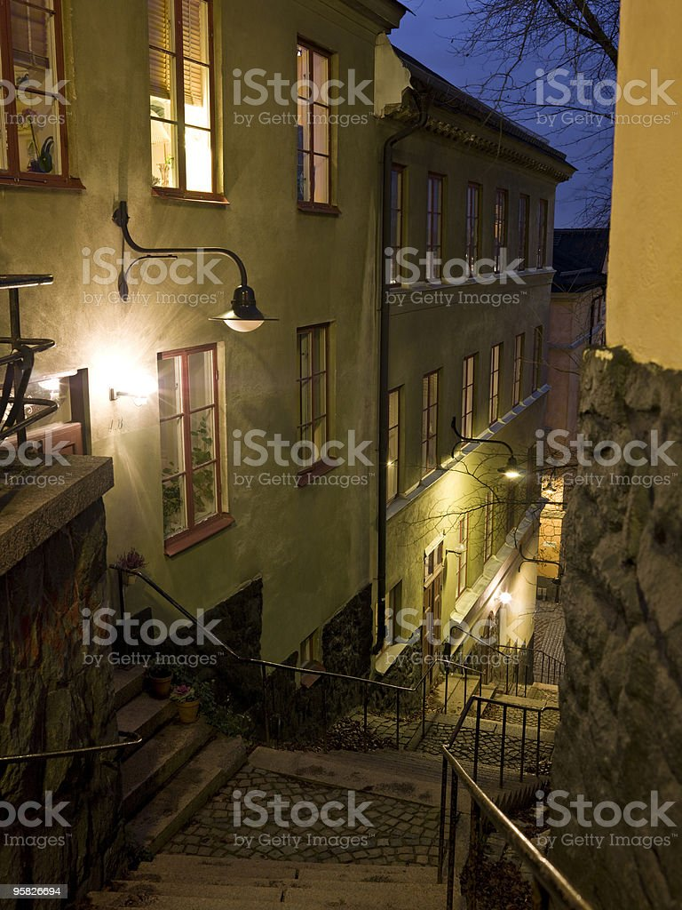 Alley with stairs stock photo