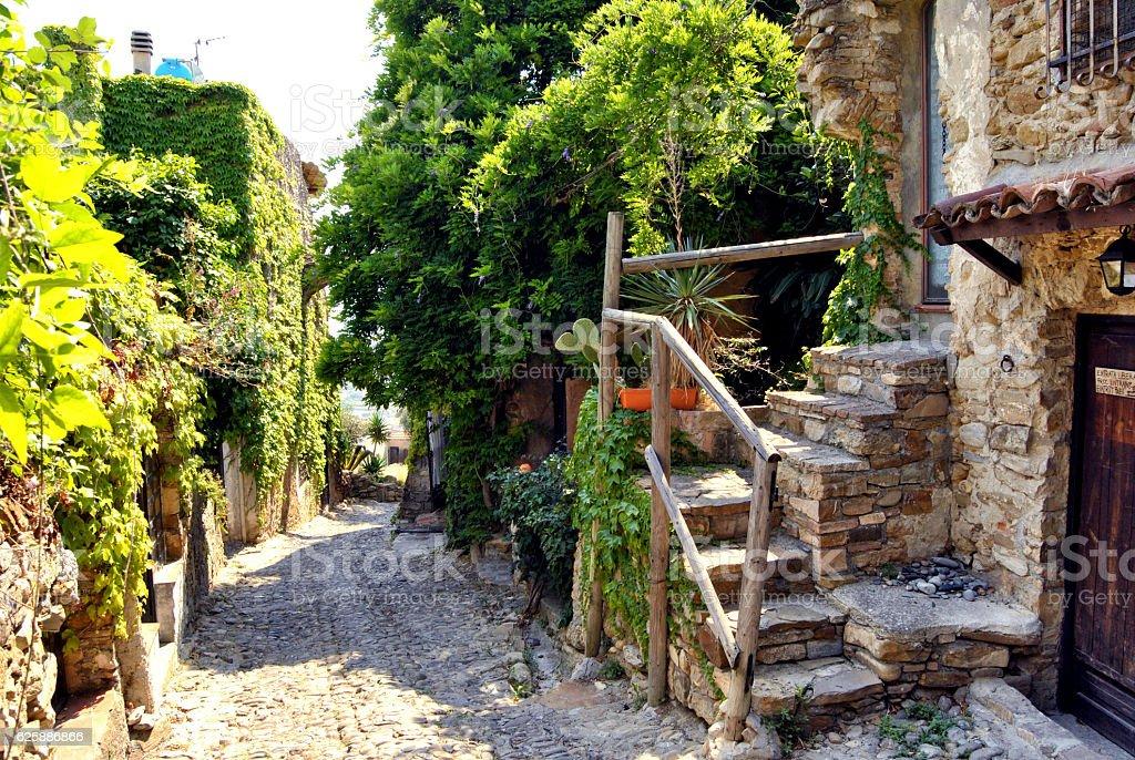 Alleys of Bussana Vecchia stock photo
