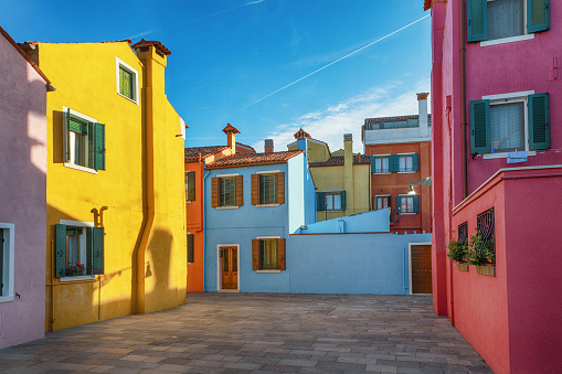 Alleys of Colorful Buildings of Burano, Venice, Italy