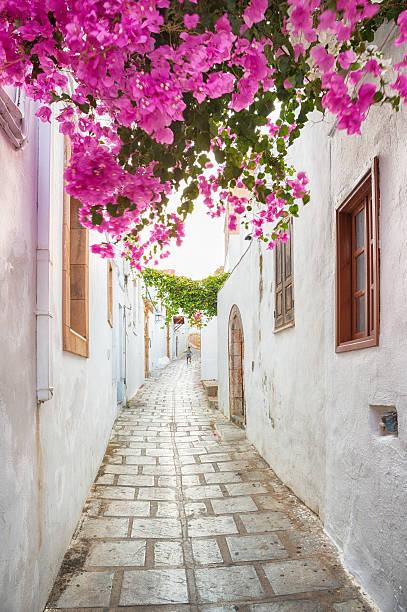 Alleys of Lindos, Rhodes, Greece - foto de stock