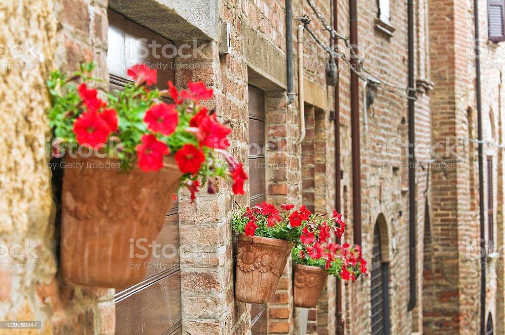 Alleyway. Castell'Arquato. Emilia-Romagna. Italy. stock photo