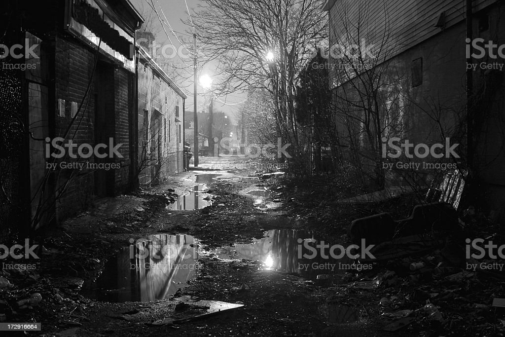Alleyway in Black and White royalty-free stock photo