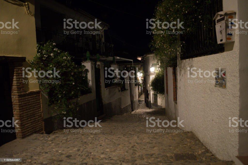 Alleyway In The Moorish Quarter Albayzin At Night Granada Spain