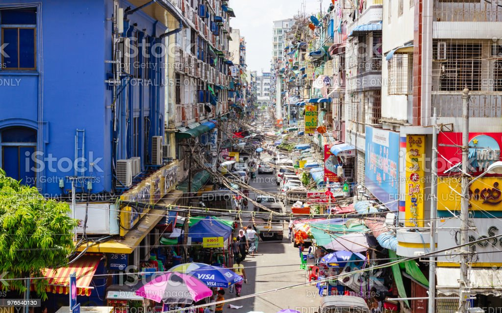 Alleyway in Yangon in front of Bogyoke Market. stock photo