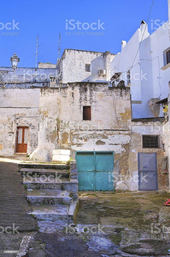 Alleyway. Massafra. Puglia. Italy. stock photo