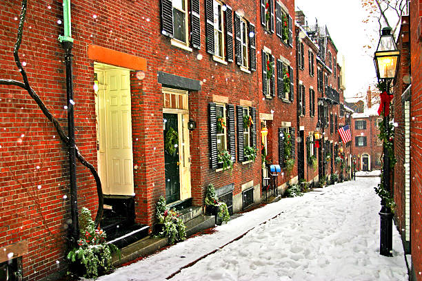 Alleyway view of a Boston winter stock photo