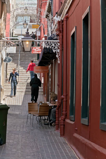 Alleyway with seating for a restaurant stock photo