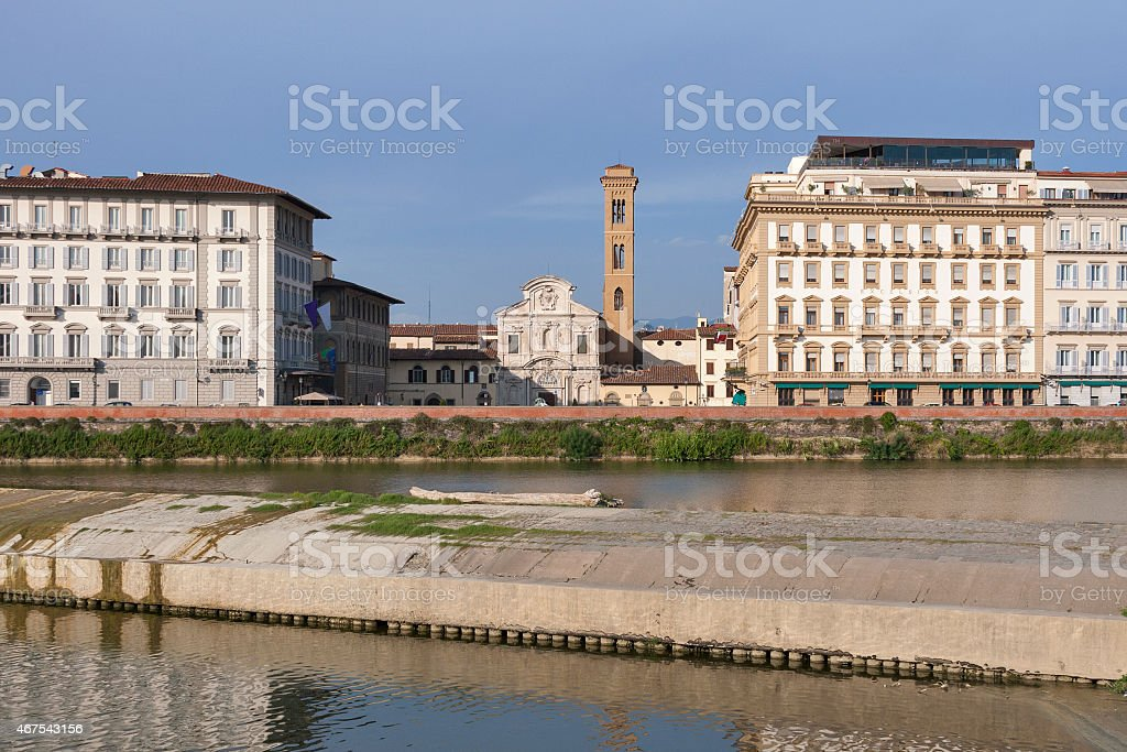 Chiesa di Ognissanti facade in Florence, Italy stock photo