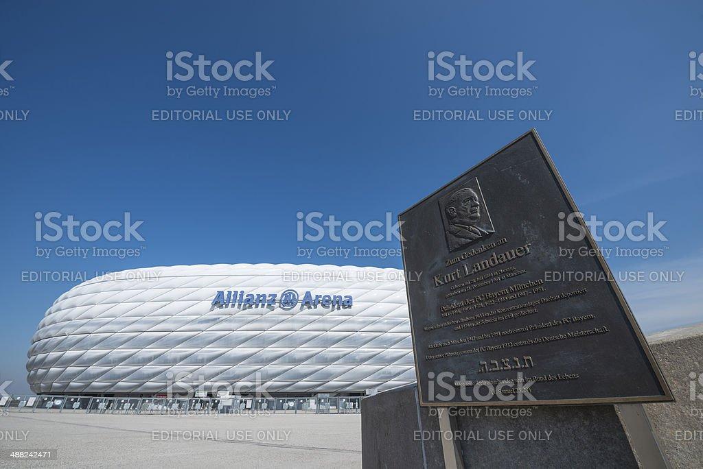 Allianz Arena Munich and Kurt Landauer memorial royalty-free stock photo