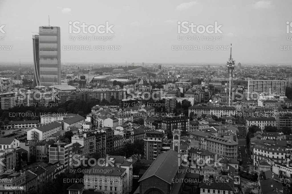 Allianz Tower and Milan cityscape, Italy stock photo
