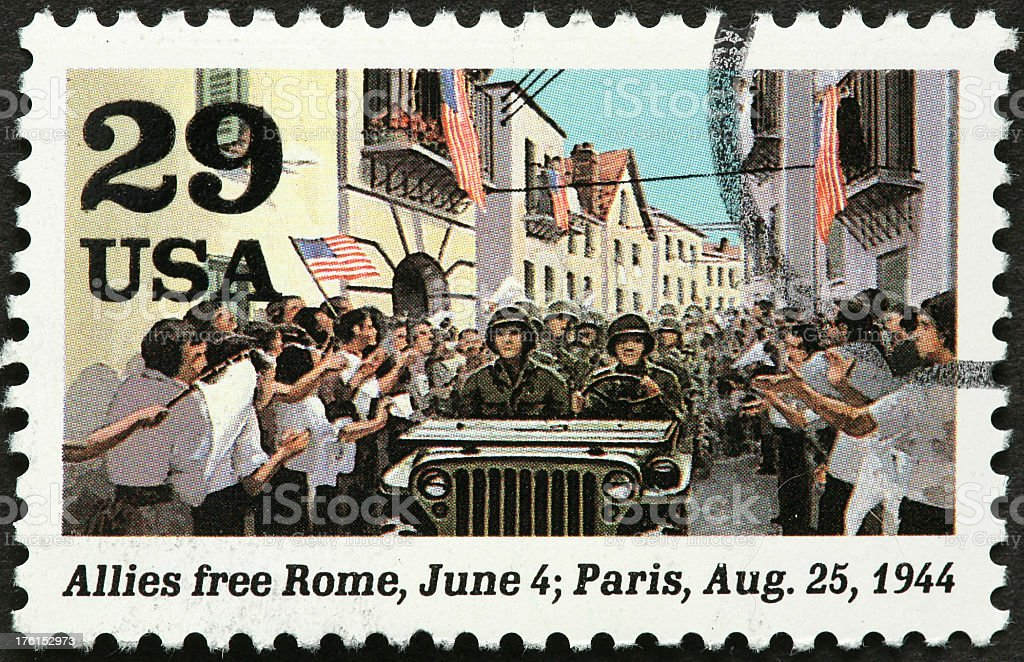 Allied armies freeing Rome in world war II royalty-free stock photo