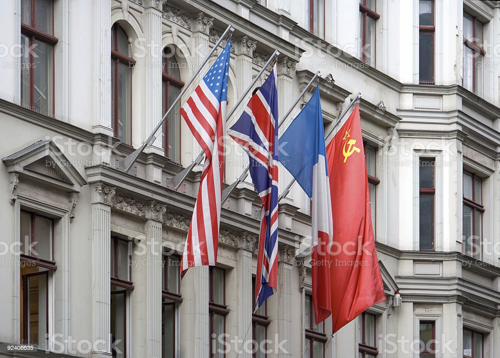 Allied Flags At Checkpoint Charlie royalty-free stock photo