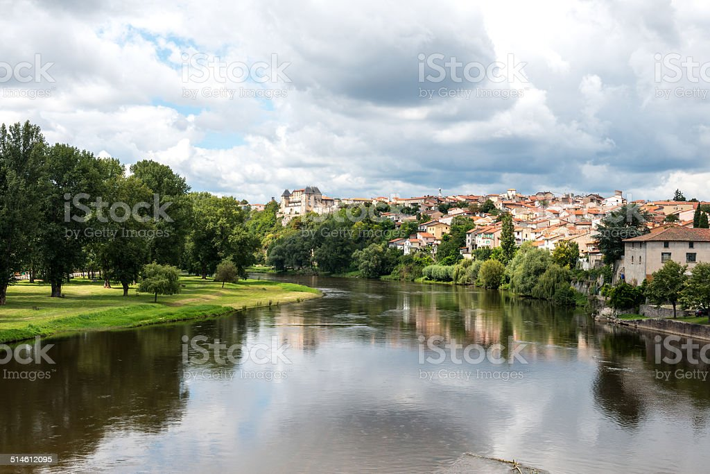 Allier river in Pont-du-Chateau (France) stock photo
