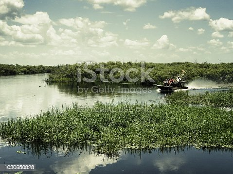 This is a editorial photo taken in Melbourne Florida of an air boat ride