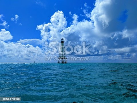 Alligator Reef Lighthouse located just off the coast of the Florida Keys