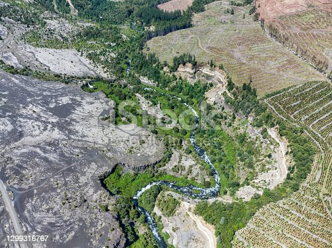 Aerial view of Allipen river cliffs in Conguillio National Park, La Araucania region, southern Chile