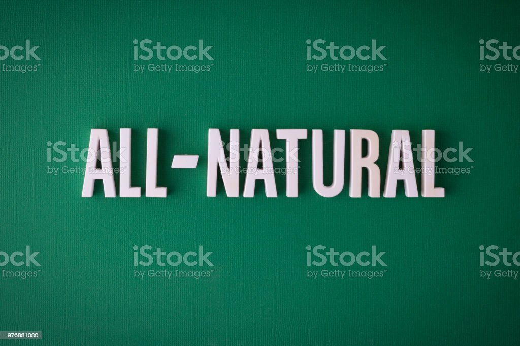 All-Natural lettering sign stock photo