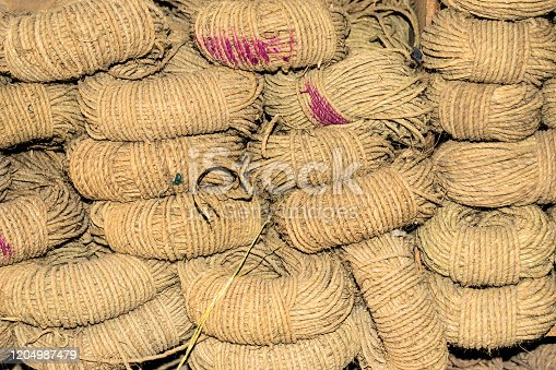 allot of bundles at a rope factory