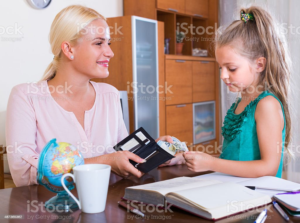 Allowance of pocket money stock photo