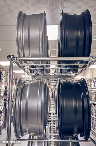 496485590 istock photo Alloy car wheels in a store 1203580898
