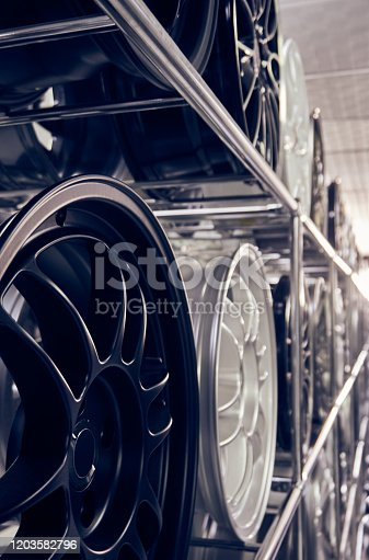 496485590 istock photo Alloy car wheels in a store 1203582796