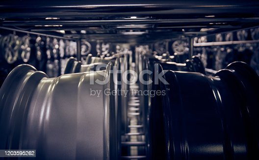 496485590 istock photo Alloy car wheels in a store 1203595262
